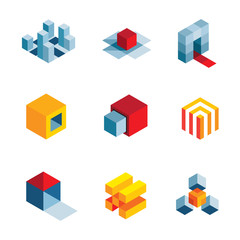 3D startup idea creative virtual company element logo icons