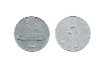 Fifty Paise Rupee Indian Coin
