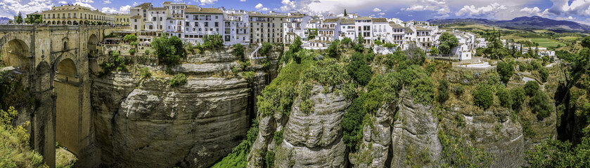 Ronda Panoramic view over Puente Nuevo and city