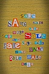 announcement of sale made up of letters cut