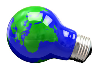 Light bulb with planet Earth, 3d