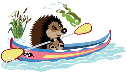 hedgehog padding in a kayak