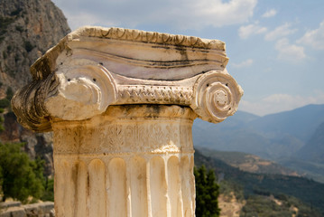 Ionic capital in Delphi, Greece