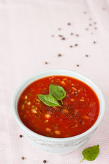 gazpacho - a cold tomato soup with vegetables