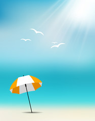 Summer Background with an Umbrella on the Beach