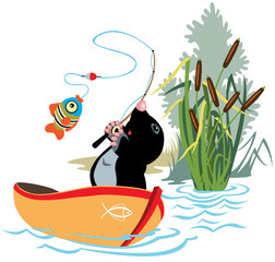 cartoon fishing mole