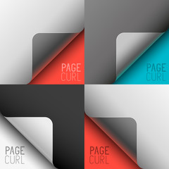 Vector Page Curls Set
