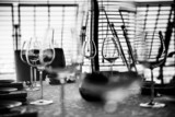 Served table with glasses. Black and white image - 66061878
