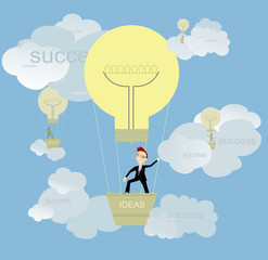 Businessman full of ideas flights up to success