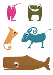 Cartoon funny animals set for design 9