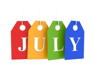 July announce sales and promotions on colored hanging labels