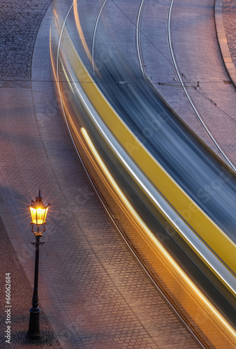 A moving tram at night - 66062684