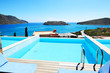 Swimming pool at luxury hotel with a view on Spinalonga Island,