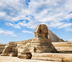 The Sphinx and the pyramid of Cheops in Giza Egipt