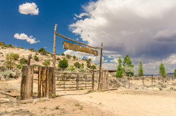 Ranch Gate with Approaching Storm Clouds