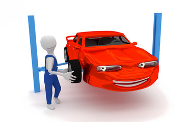 auto repair - replacing tires