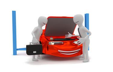 technician passes car to customer