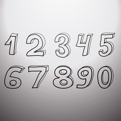 Set of doodled numbers at light background