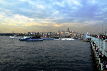Galata Tower from Galata Bridge, Istanbul