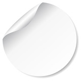 Blank, white round promotional sticker - 66065486