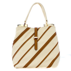 Beautiful white with brown stripes lady handbag