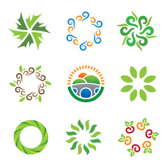 Nature green eco system wild landscape energy logo icons