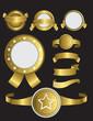 collection of golden, satmpls, seals or award symbols