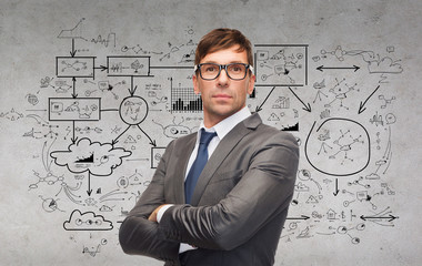 attractive businessman or teacher in glasses