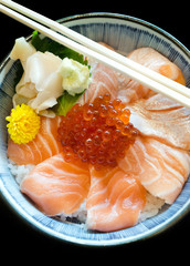 Bowl of Japanese salmon don  sushi rice