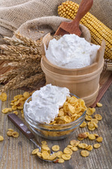 cornflakes with domestic sour cream on the table