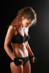Portrait of young beautiful fitness woman.