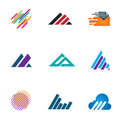 Line inspiration professional design triangle logo speed icons