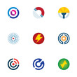 Technology power circle signal wave science logo icons set