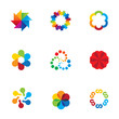 Abstract social partnership community bond colorful logo icons