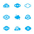 Cloud technology of future science application design logo icons