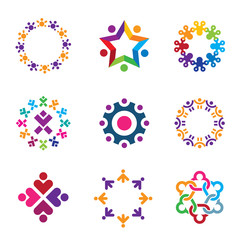 Social world community people circle logo icons set