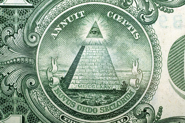 1 Dollar USA, pyramid,  for a background . Macro