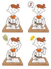 勉強する女子学生(夏服)