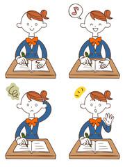 勉強する女子学生4種類のポーズと表情