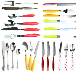 Collage of different cutlery design isolated on white