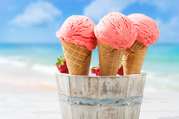 Close Up Strawberry Ice Creams