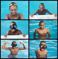 African child in the swimming-pool