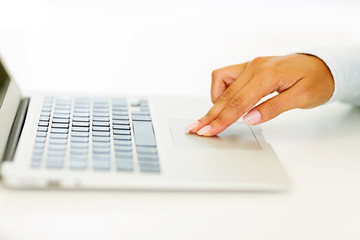 woman hand working on laptop