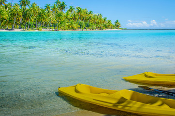 Empty kayaks on the shore of a tropical island