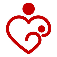 Mother's heart, breastfeeding, vector