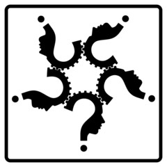 question mark human head team gear symbol, vector,