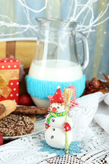 Beautiful Christmas composition with milk close-up