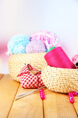Handicraft supplies in basket
