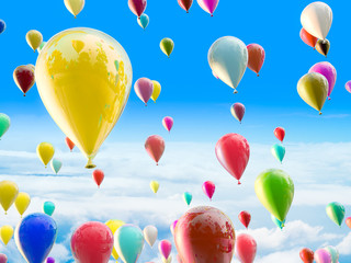 Color balloons on the sky