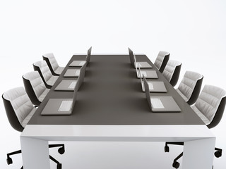 Conference table and meeting room.3d illustration. isolated whit